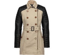 Keanu quilted leather-paneled cotton trench coat