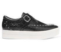 Kony Studded Croc-effect Leather Sneakers Schwarz