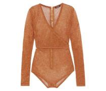 Cutout wrap-effect metallic stretch-knit bodysuit