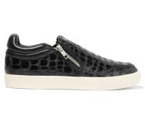 Intense Croc-effect Patent-leather Sneakers Schwarz