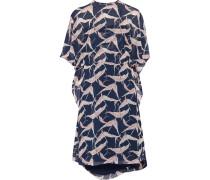Layered Printed Chiffon Dress Mitternachtsblau