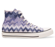 Metallic Embroidered Printed Canvas Sneakers Lila