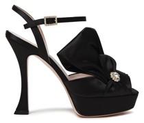 Lavallière Embellished Satin Platform Sandals