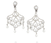 Silver-tone Crystal And Faux Pearl Clip Earrings Silber