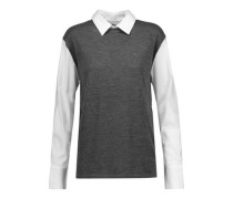 Poplin-paneled wool and cashmere-blend sweater