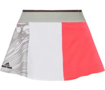 Skirt-effect pleated printed stretch shorts