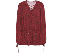 Woman Lace-up Printed Georgette Blouse Claret