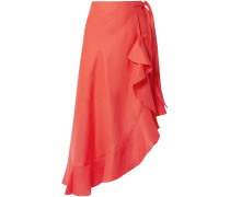 Liviona Asymmetric Ruffled Linen Wrap Skirt