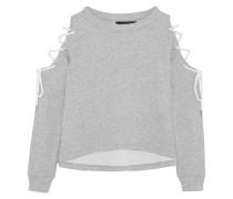 Kennedy Cold-shoulder Lace-up Cotton-blend Jersey Sweatshirt Hellgrau
