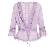 Crocheted Lace-trimmed Cotton-blend Voile Jacket