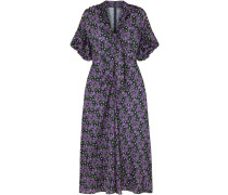 Woman Pussy-bow Printed Crepe De Chine Midi Dress Purple