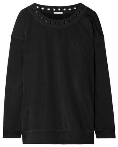 Eyelet-embellished Jersey Sweatshirt Black