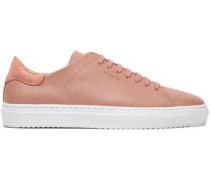 Suede-trimmed Leather Sneakers Antique Rose