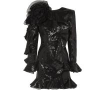 Ruffled Organza-trimmed Sequined Crepe Mini Dress