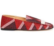 Loafers aus Webstoff in Colour-block-optik mit Glitter-finish