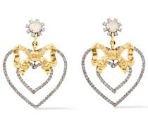 24 Kt. Vergoldete Ohrringe mit Kristallen und Hämatitbeschichtung