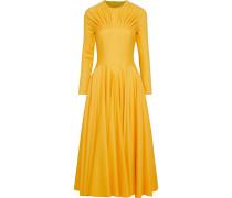 Nasiba Cutout Pleated Wool-gabardine Midi Dress