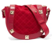 Mini Embellished Textured-leather And Suede Shoulder Bag Rot