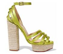 Eyelet-embellished Satin Espadrille Platform Sandals