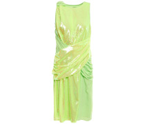 Cady-paneled Gathered Sequined Neon Tulle Dress