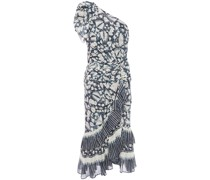 One-shoulder Printed Metallic Cotton-blend Voile Midi Dress