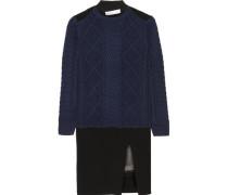 Luck satin-trimmed wool mini dress