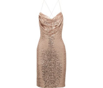 Draped sequined tulle dress