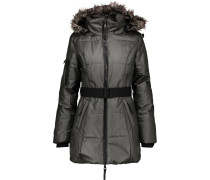 Kim Faux Fur-trimmed Coated-cotton Hooded Coat Anthrazit