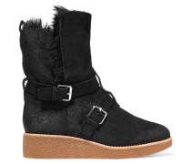 Perry Buckled Suede Boots Schwarz