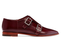 Masca Monk-strap Glossed-leather Brogues Burgunder