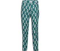 Carla Cropped Printed Washed-silk Straight-leg Pants Türkis