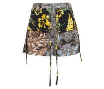 Paneled Printed Crepe De Chine Shorts
