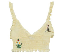 Cropped Embroidered Pointelle-knit Top Pastel Yellow