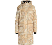 Printed quilted shell hooded coat