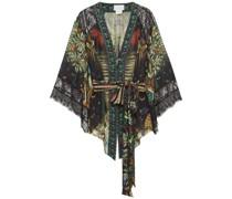 Lace-trimmed Embellished Printed Silk-chiffon Kimono