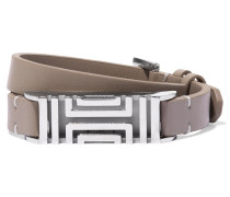 Silver-tone And Textured-leather Bracelet Champignon