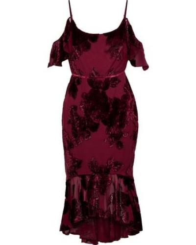Cold-shoulder Ruffle-trimmed Devoré-chiffon Dress Burgundy