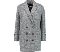 Metallic Cotton-blend Tweed Coat Schwarz