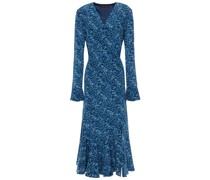 Wrap-effect Printed Silk Crepe De Chine Midi Dress