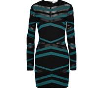 Mesh-paneled Jacquard-knit Mini Dress