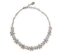 Silver-tone crystal choker
