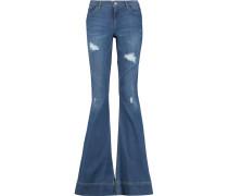 Ryley High-rise Distressed Denim Jeans Mittelblauer Denim