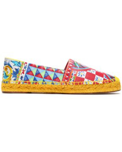 Printed Leather Espadrilles Red