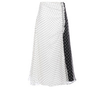 Pleated Polka-dot Silk-chiffon Midi Skirt