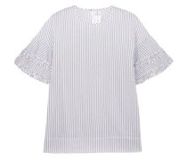 Ruffle-trimmed striped cotton blouse
