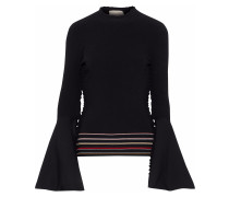Woman Striped Intarsia-knit Top Black