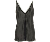 Maria Leather And Chiffon-trimmed Silk-velvet Camisole