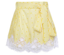 Belted Guipure Lace-trimmed Printed Cotton Shorts