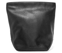 Textured-leather Clutch Schwarz