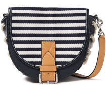 Bike Small Lace-up Striped Canvas-paneled Textured-leather Shoulder Bag